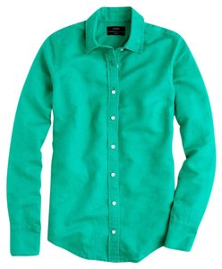 J.Crew Roll-up Sleeves Cotton Linen Top Emerald