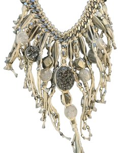 Chan Luu White Fringe Statement Necklace