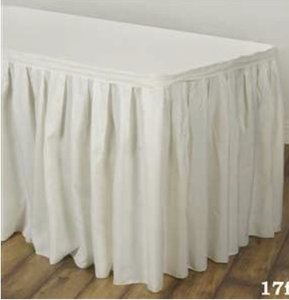"Tablecloths Factory Ivory 17"" Polyester Table Skirt Reception Decoration"