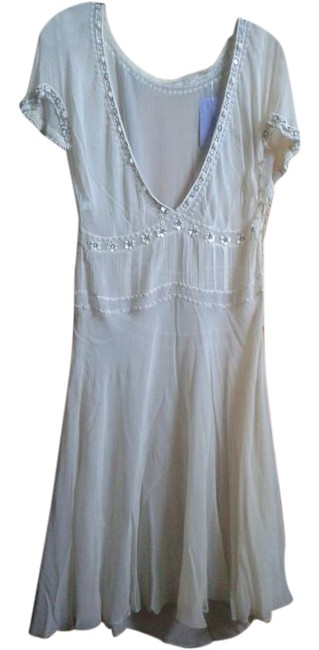 Item - White Sheer Beaded Mid-length Night Out Dress Size 0 (XS)