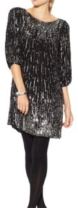 Alice + Olivia + Sequin Party Silver Knee Length Dress