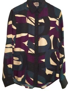 Anne Klein Top Black/Purple/Tan/Green