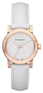 Burberry Rose Gold White Dial Ladies White Leather 26mm Watch BU9209