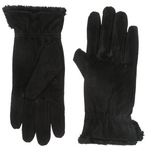 Isotoner Black Suede Gathered Wrist Microluxe Lined Womens Gloves L