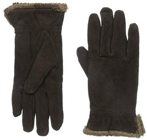 Isotoner Dark Brown Suede Gathered Wrist Microluxe Lined Womens Gloves L
