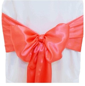 90 Coral Satin Chair Sashes