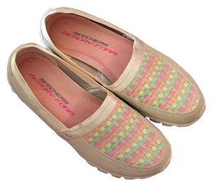Skechers Tan with pink, green, yellow, and orange checkered squares on toe Athletic