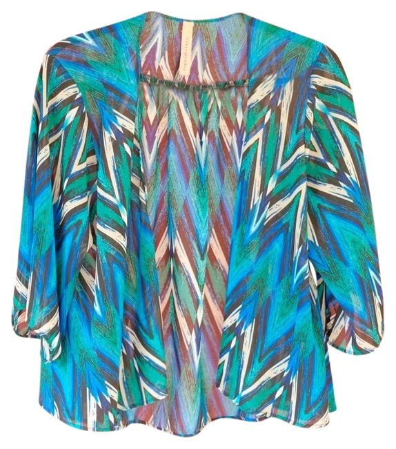 Eight Sixty Multi Color Sheer Top Black Green Blue