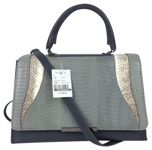KHIRMA ELIAZOV Medium Handbag Snakeskin Handbag Grey Leather Handbag Medium Leather Satchel in grey/multi