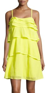 Diane von Furstenberg short dress Canary Yellow Reina Dvf Ruffle Tier on Tradesy