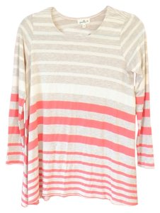 Anthropologie Top Cream and Coral