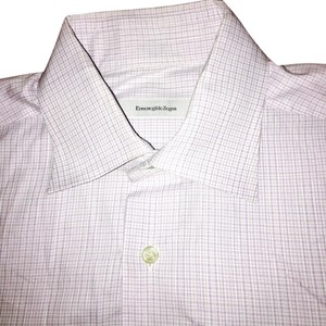 Ermenegildo Zegna Button Down Shirt Purple white