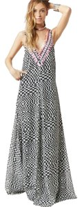 Mara Hoffman Gown Full Length Gown Checkered Floor Length Runway Resort Maxi Maxi Gown Embellished Sequin Deep V V Neck Plunge Dress