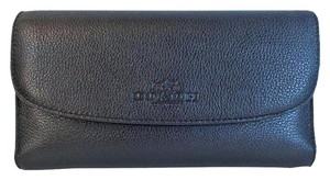 Coach F52715 Pebbled Leather Checkbook Wallet Clutch Purse NWT Black
