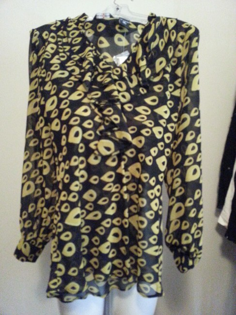 New York & Company Top Black / Yellow