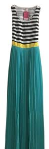 Green with black/white stripes Maxi Dress by Double Zero
