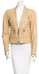 Just Cavalli Zipper Tan Leather Jacket