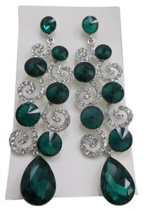 Green White Crytal Long Fashion Earrings w Free Shipping