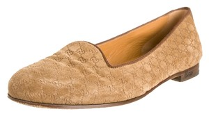 Gucci Suede Gg Loafers Tan Flats