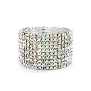 Mariell Iridescent 10-row Rhinestone Or Prom Stretch Bracelet