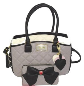 Betsey Johnson Triple Entry Gray Satchel in gray/bone/black