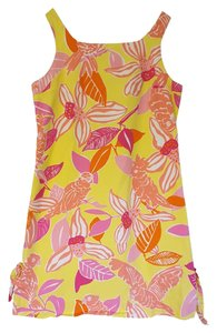 Lilly Pulitzer short dress Yellow, Pink, Orange & White Beach Resort Girls Kids Floral on Tradesy