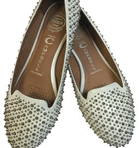Jeffrey Campbell White and silver Flats