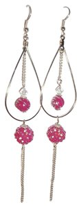 Other Pink Teardrop Drop Shamballa Disco Party Earrings