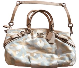 Coach Satchel in off white, light blue and tan