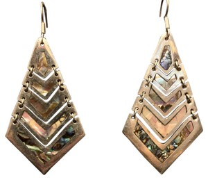 Free People Dangle Articulated Mother Of Pearl Abalone Inlay Earrings Mexico