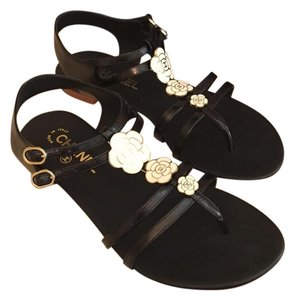 Chanel Camelia Flower Lambskin Strappy Black Flats