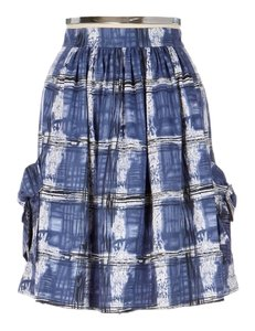 Anthropologie Plaid Bow Anthro Cotton Skirt Blue