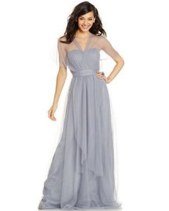 Adrianna Papell Grey Strapless Tulle Convertible Gown Dress