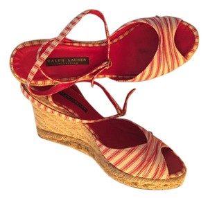 Ralph Lauren Strappy Red/white Wedges