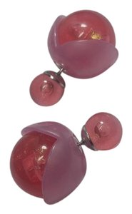 New Pink Double Sided Stud Earrings Round J2844