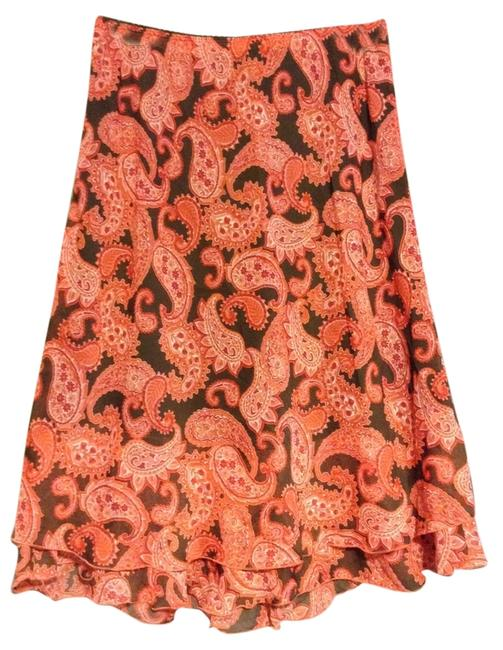 Notations Polyester Skirt Coral pink, red and Brown