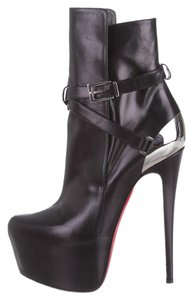 Christian Louboutin Hardware Pointed Toe Black, Silver Boots