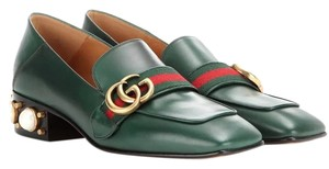 Gucci Leather Loafer Green Flats