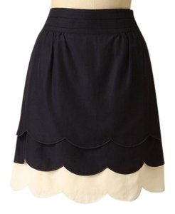Anthropologie Anthro Vintage Scalloped Scallop Clouds Navy Skirt Navy Blue