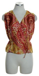 Lafayette 148 New York Woven Silk Sleeveless Wrap Printed Top Red Multi