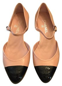 Chanel Patent Lambskin Mary Jane Pink and Black Flats