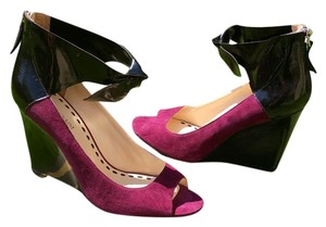 Enzo Angiolini Wine Suede and Black Patent Leather Wedges