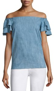 Alice + Olivia Off-the-shoulder Top Blue