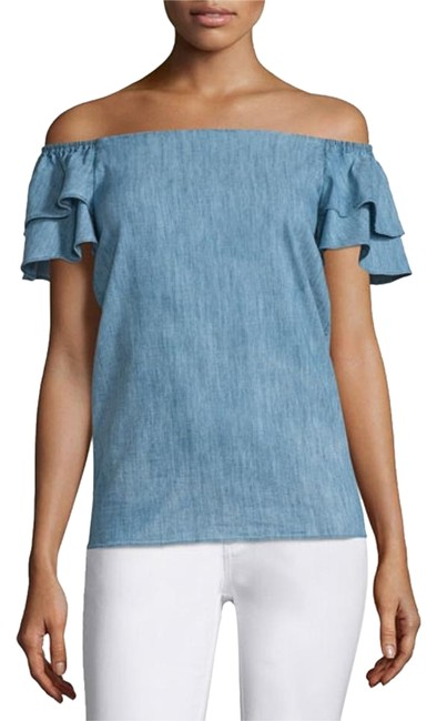 Preload https://img-static.tradesy.com/item/19013608/alice-olivia-blue-loryn-off-the-shoulder-chambray-ruffle-cotton-blouse-size-4-s-0-1-650-650.jpg