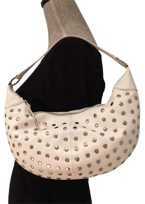 Item - Studded White Leather Hobo Bag