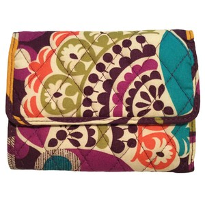 Vera Bradley Euro Wallet in Plum Crazy Floral Paisley Quilted Cotton Retired