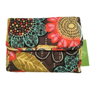 Vera Bradley Euro Wallet in Flower Shower Floral Quilted Cotton Retired