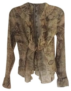 Roberto Cavalli Sheer Print Top Multi
