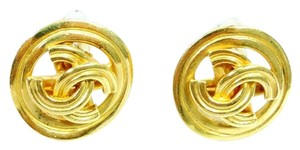 Chanel Authentic Chanel Gold Plated CC Logo Earrings