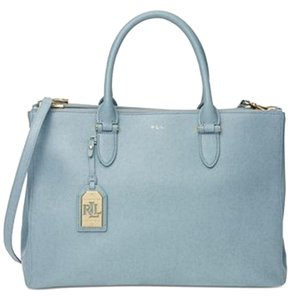 Ralph Lauren Lauren Leather Zipper Convertible Satchel in blue